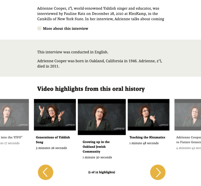 Screenshot of middle portion of Adrienne Cooper's oral history interview webpage, with basic info and highlights with preview images and yellow buttons to navigate to see different highlights