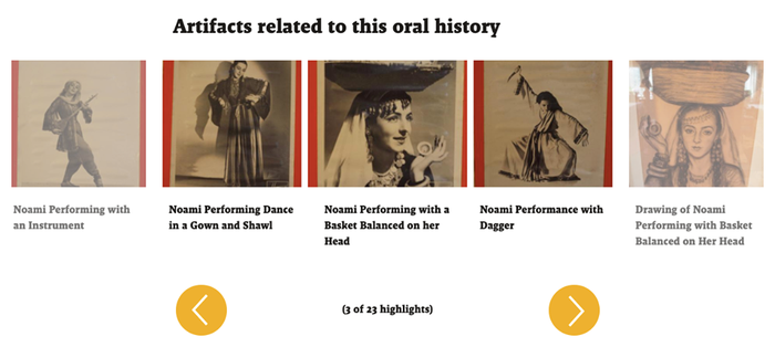 Screenshot of artifacts related to Noami Leaf Halpern's oral history interview, with small images of archival photographs of Noami as a dancer with descriptive text