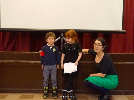 Esther singing Beyle Schaechter-Gottesman's songs with two of her students (ages 3 and 5)