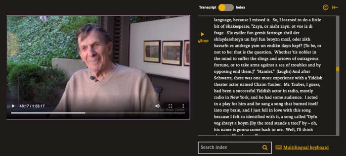 Leonard Nimoy's interview alongside its transcript