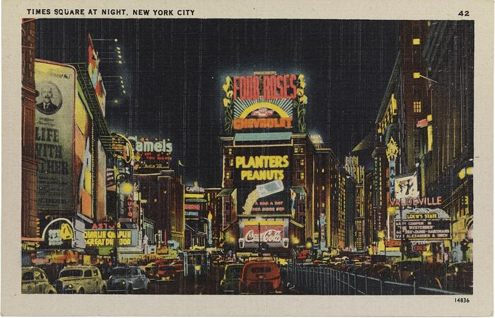 Colorful painting of Times Square at Night, NYC, ca. 1935.