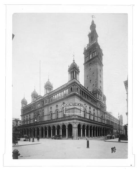 Exterior of The Old Madison Square Garden Theatre, 26th Street at Madison Avenue, ca. 1905.