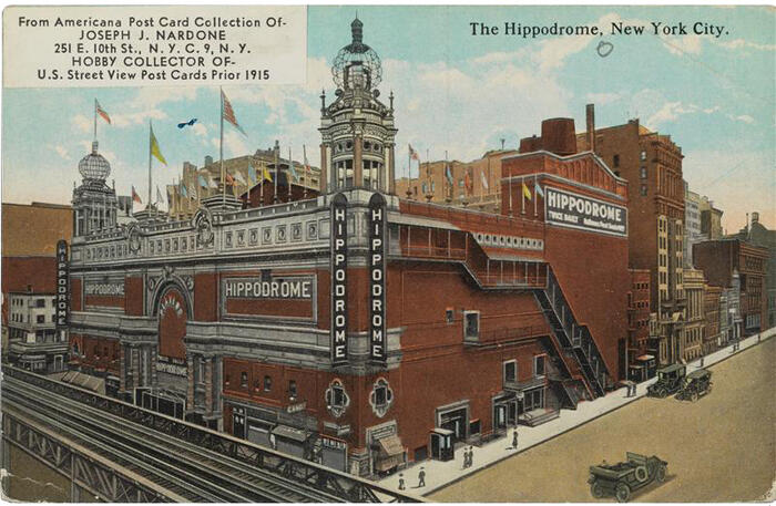 Postcard of the Hippodrome theater in New York