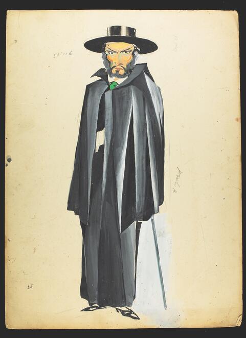 Costume design by Zuni Maud for Maurice Schwartz' Yiddish Art Theatre