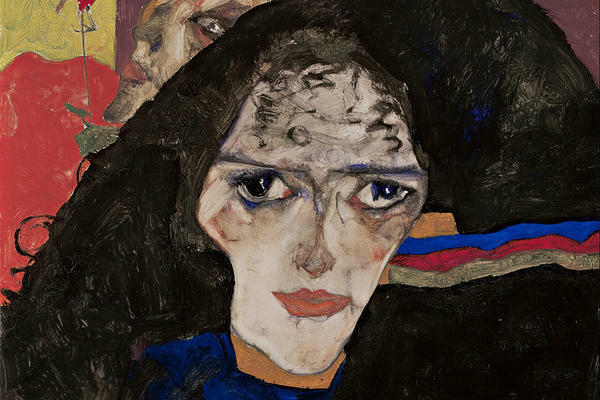 "The painting ""Mourning Woman"" by Egon Schiele. It depicts a woman dressed in black, with white makeup and dark curly hair, gazing at the viewer."
