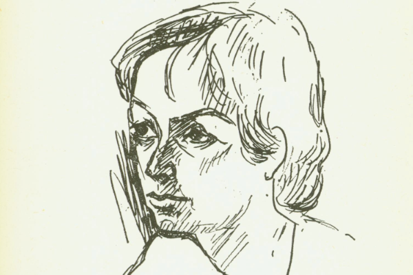 Drawn self portrait by Beyl Schaechter-Gottesman