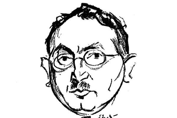 An illustration of the Yiddish writer Yoshua Perle