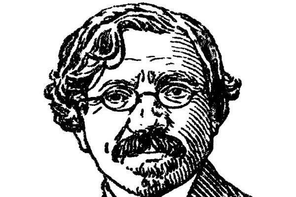 A lineart portrait of the Yiddish writer Sholem Aleichem
